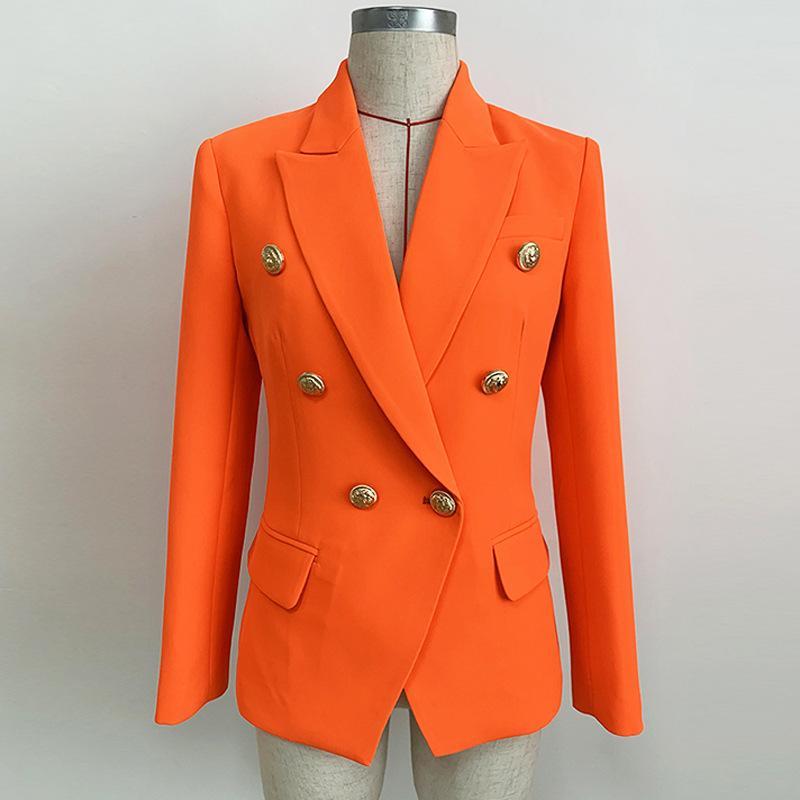Botones Delgado Oficina Camiseta de manga larga chaqueta de la chaqueta de las mujeres 2020 Naranja fluorescente Mujer Blazer clásico traje Cruzado
