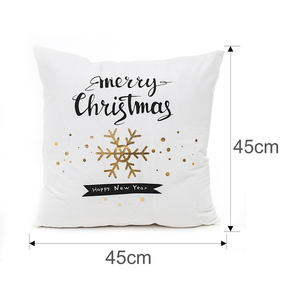 45x45cm Coussin Lin Coton Couverture Joyeux Noël Imprimé Lettre d'or Taie d'oreiller décorations pour Noël Home Décor Taie