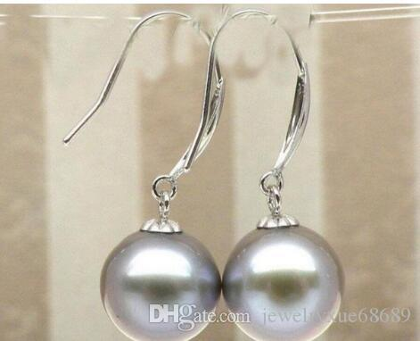 Charming 9 mm Natural akoya silver gray pearl dangle earring 14K/20 white gold