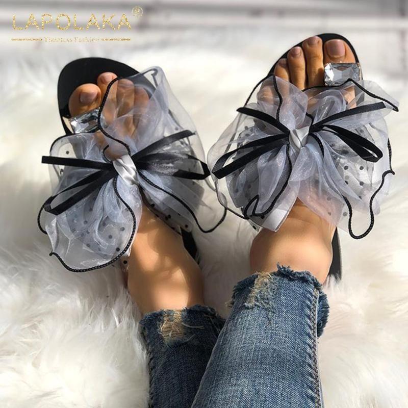 Rahat Ayakkabı Kadın Terlik Kadın Sweet Kelebek Boş Terlik Kadınlar On Lapolaka 2020 Yeni Moda Büyük Beden 42 Kayma