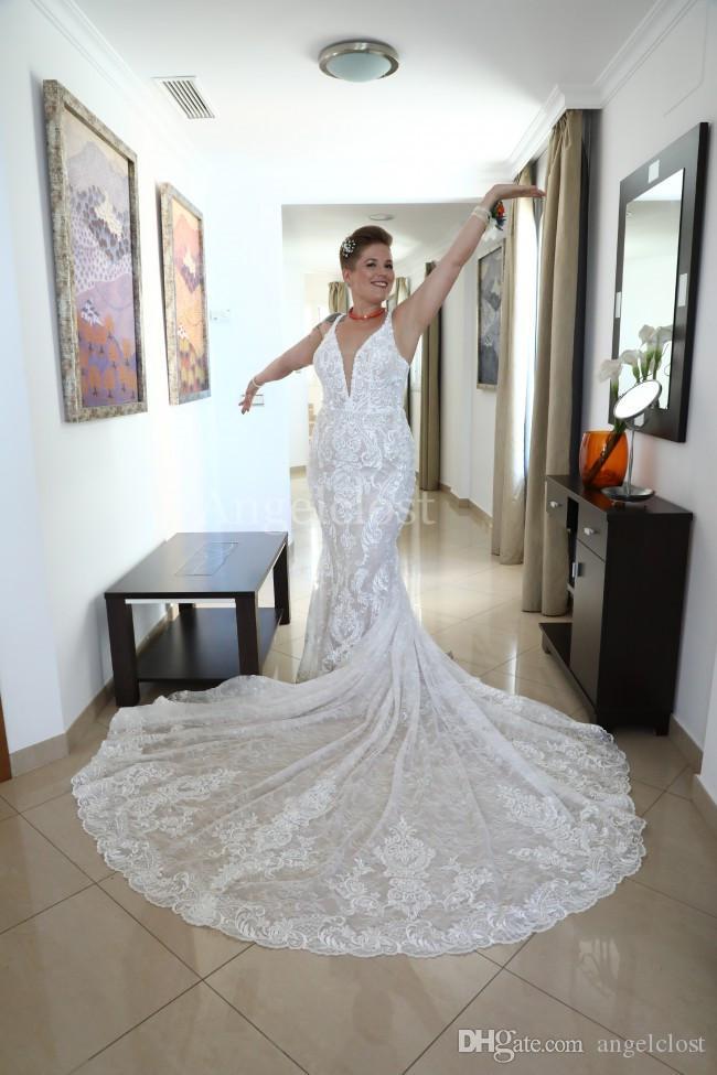 Plus Size élégante sirène robes de mariée 2019 col en V profond Backless Long Train Robe de Novia Modeste plage dentelle Robes de mariée sur mesure