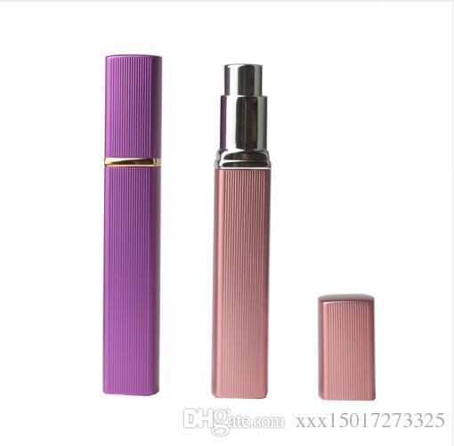 6 cores de Metal Caso Tanque De Vidro 12 ml Frasco De Perfume Bico De Alumínio Spray Recarregável Bottles1pcs ROSE-Red Rosa Azul GoLd