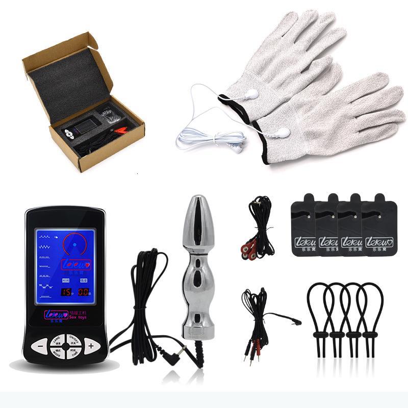 Elektrik Şoku Stimulatör Penis Halka Masaj Eldiven Anal Butt Plug Yetişkin Oyunları Elektrikli Seks Müthiş Temalı Oyuncaklar İçin Bay Bayan Y191108
