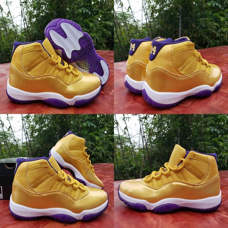 2020 Yeni Renk 11 XI WMNS 11'ler altın mor Erkek Basketbol Ayakkabı Yüksek Kalite Jumpman 24 Spor Eğitmenler Spor ayakkabılar des Chaussures Boyut 13