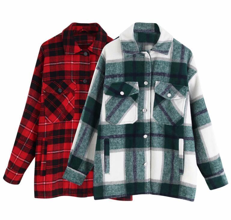 럭셔리 디자이너 여성 코트 빈티지 유행은 대형 격자 무늬 재킷 코트 여성 2020 라펠 칼라 긴 소매 느슨한 겉옷을 포켓