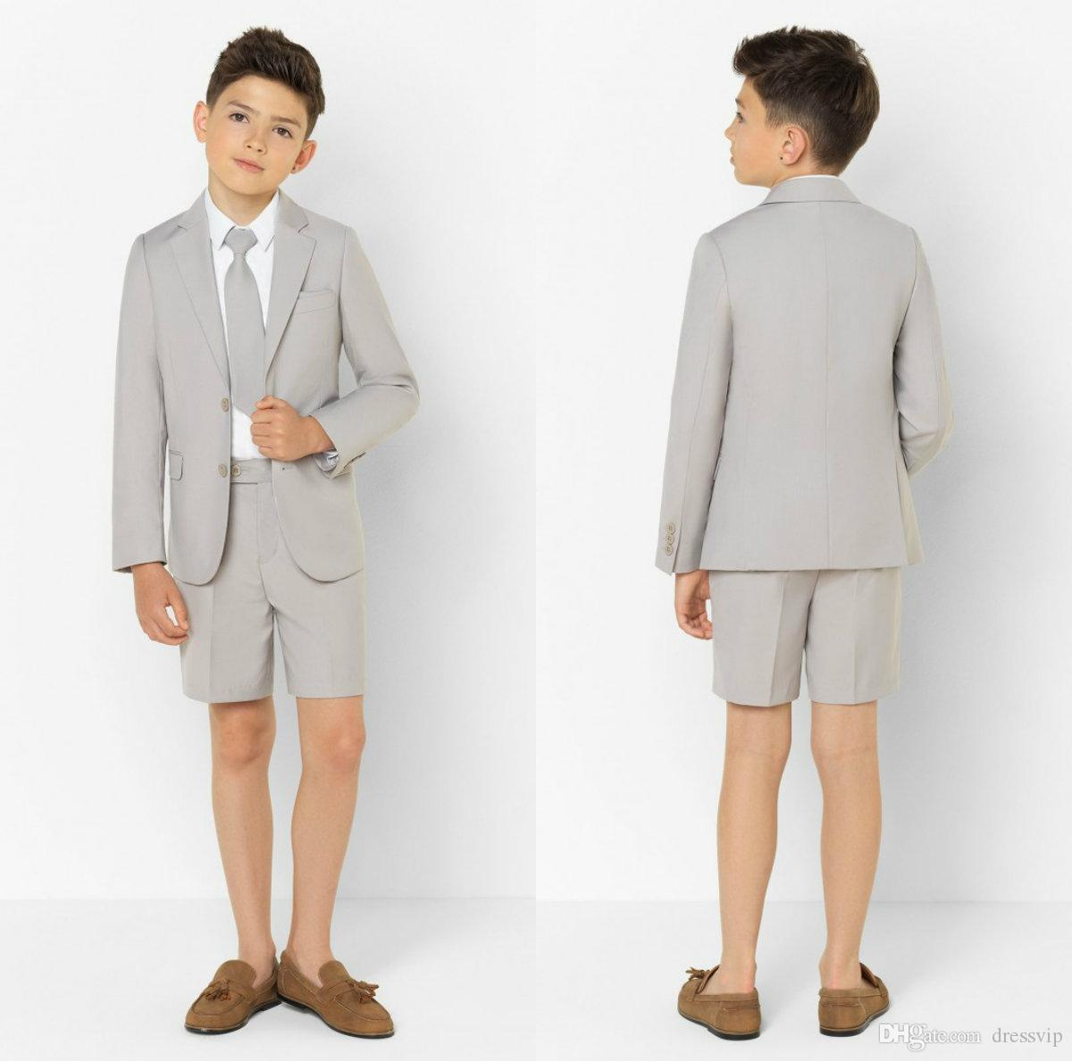 Summer Little Boy Formal Suits Dinner Tuxedos for Beach Wedding Party Boy Groomsmen Kids Children Prom Suit Formal Wear (Jacket+Pants)