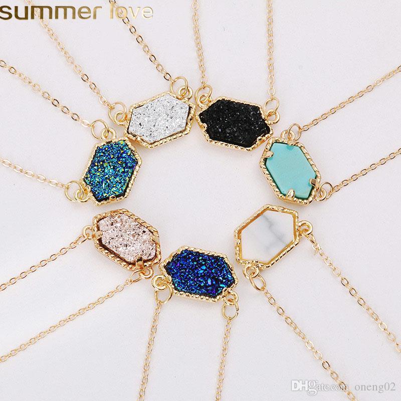 New Design Geometrische Druzy Ketten 14 Farben Gold Silber überzog Geometrie Stein Anhänger Halskette für elegante Frauen Mädchen Fashion Jewelry