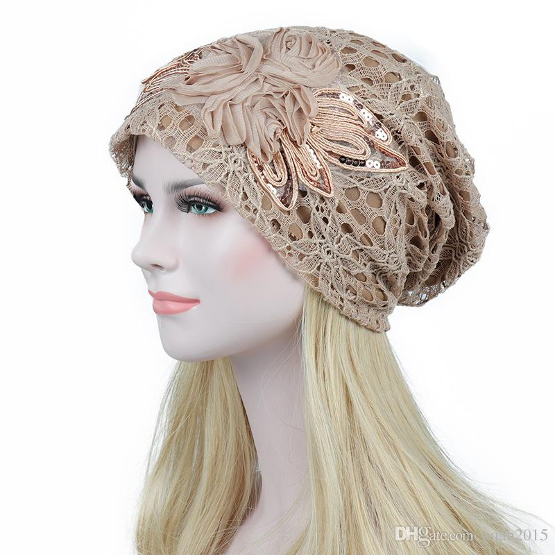 Turban Hats For Women Lace Slouchy Beanie Cap Winter Knitted Skullies Caps Fashion Flower Female Stylish Butterfly Beanies Hat K04