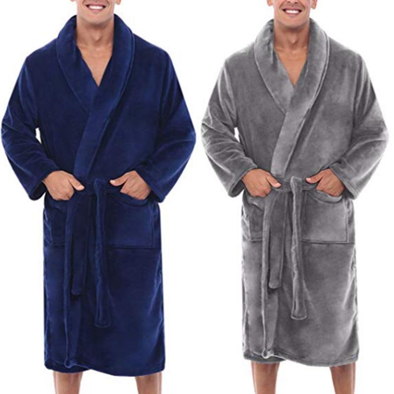 Caliente para hombre felpa del invierno Mantón Alargado Albornoz Ducha Inicio largas de la ropa del traje J9 Escudo