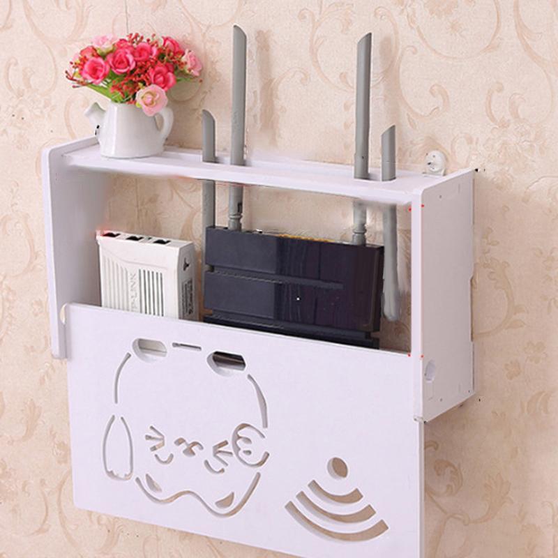 Decorativa Caixa de armazenamento de dissipação de calor montado na parede de exibição Armazenamento Phones Controle Remoto WiFi Router Container Box