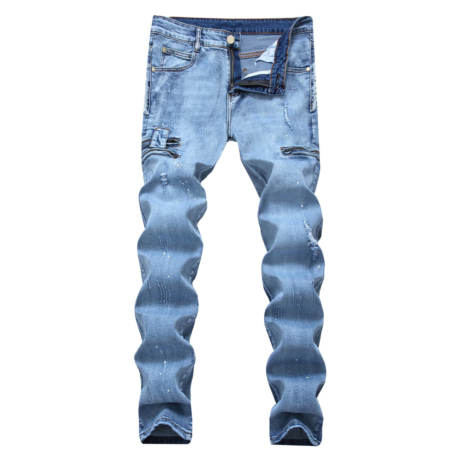 Designer Hole Jeans Zipper Stretch Skinny Jeans Hip Hop Streetwear Jeans Fashion Pants Light Blue Casual Trousers