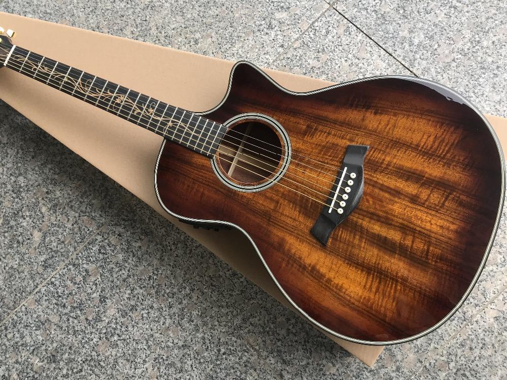 الجملة العرف 41 بوصة K24 KOA الصلبة خدمة مخصصة الغيتار الكهربائي، وخشب الأبنوس الأصابع، وتوفير الصوتية