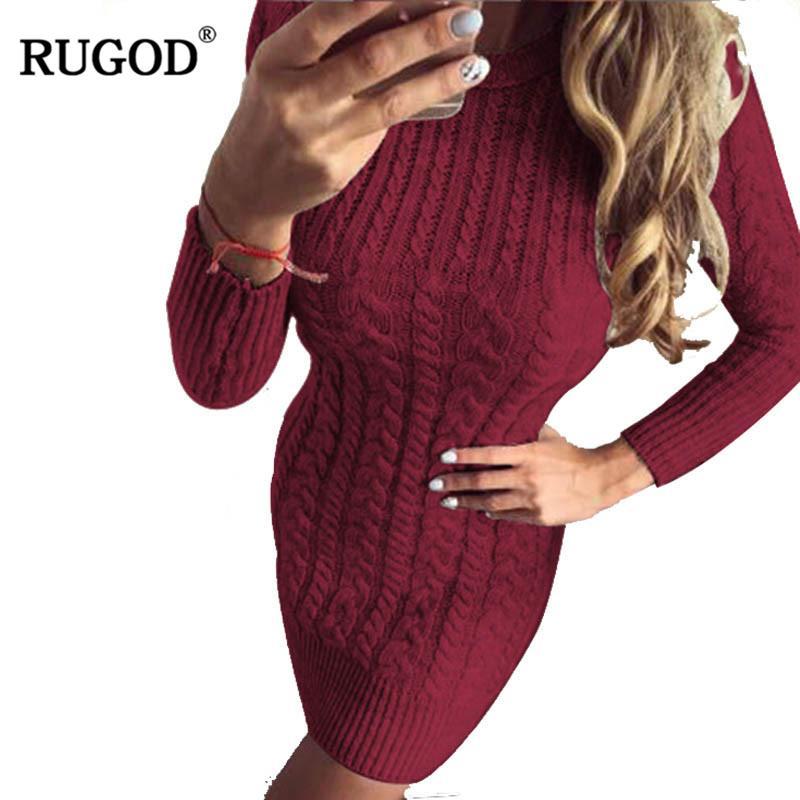Venta al por mayor Mujeres Otoño Invierno Suéter Cálido Vestidos de punto Elástico O cuello manga larga Sexy Lady Bodycon Robe Vestidos Vestidos