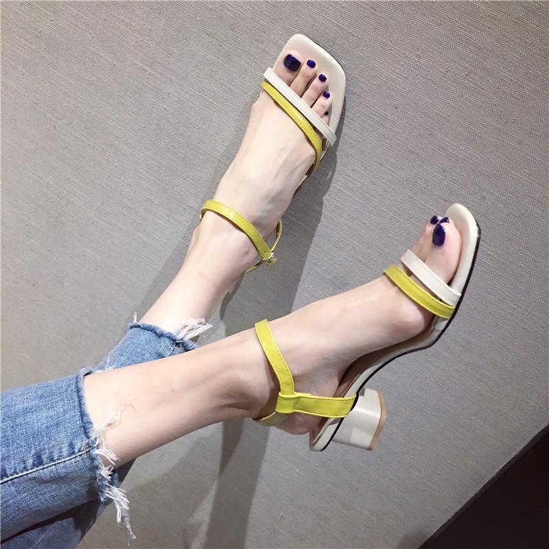Sexy2019 Zapato cuadrado grueso con temperamento Grace Color de ortografía Sandalias de mujer de trabajo a juego