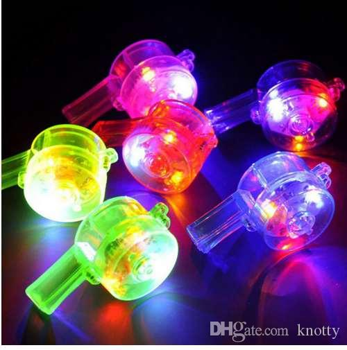 Luminous Whistle Toys Flashing Whistle Colorful Lanyard LED Light Up Fun In the Dark Party Toys Rave light stick toy for kids A1