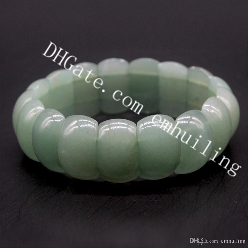 10Pcs Women's Men's 15mm 20mm 25mm Natural Green Aventurine Energy Stone Cuff BraceletS Green Jade Stretch Beaded Bangle Bracelet Vitality
