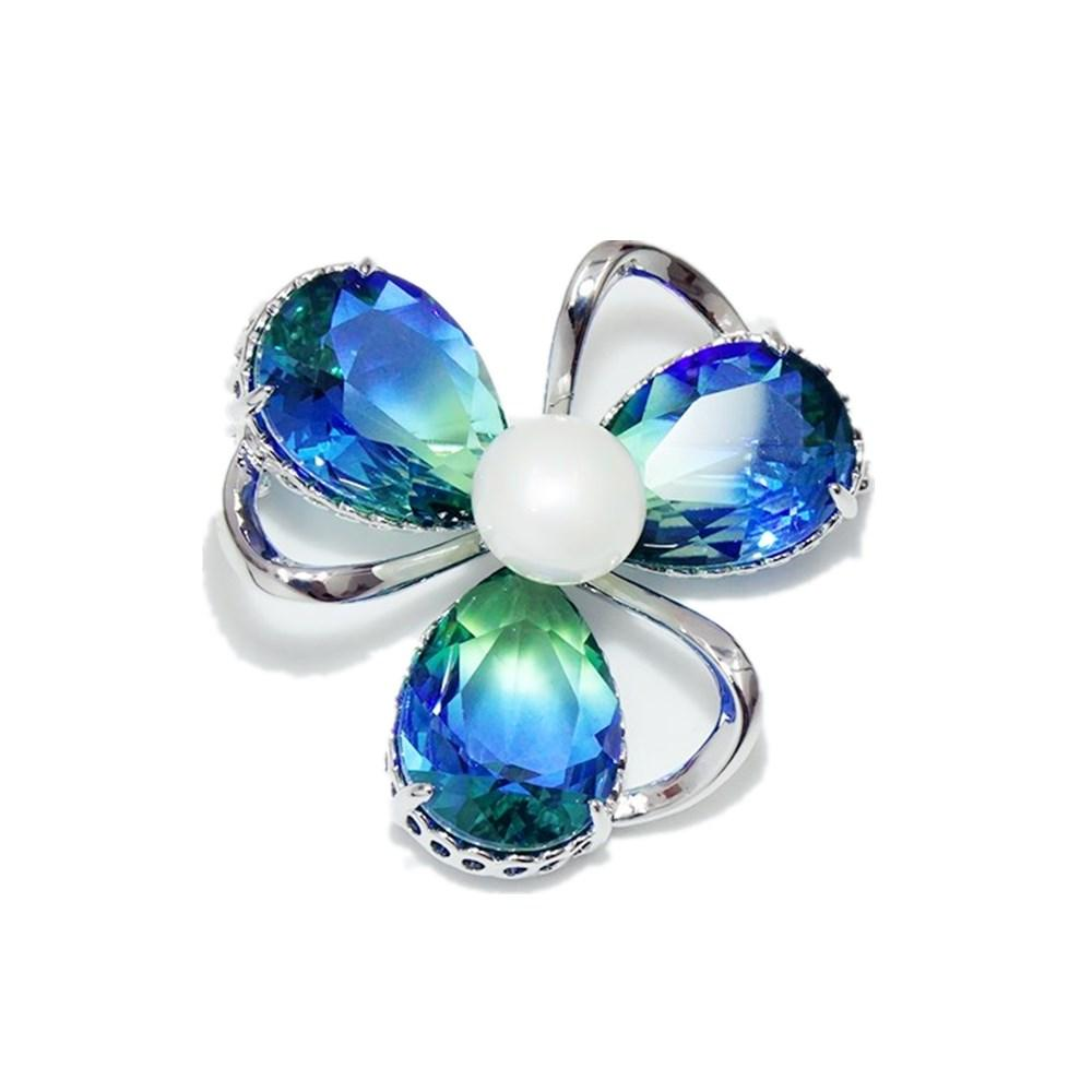 New Charm Simulated Pearl Flower Brooch Fashion Corsage Bridal Jewelry Zircon Plant Brooch Women Dress Clothes Scarf Pins
