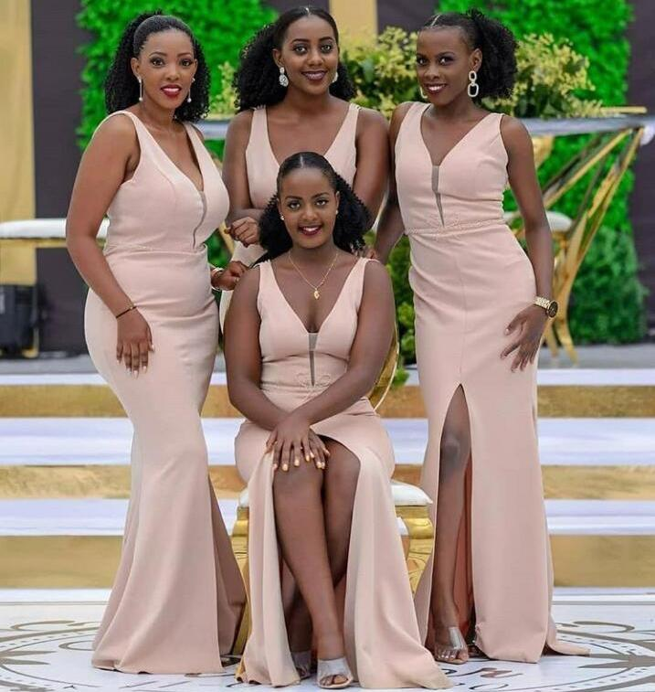 African V Neck Sleeveless Side Split Sexy Bridesmaid Dresses Backless Mermaid Wedding Guest Maid of Honor Dress