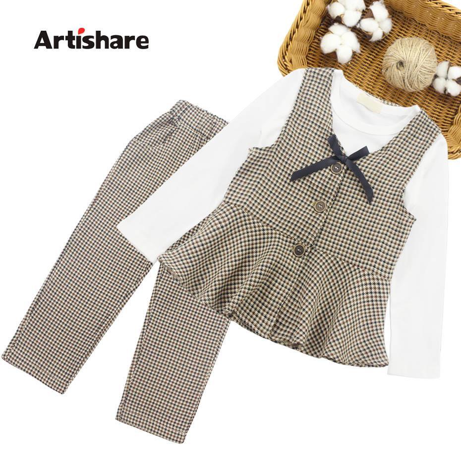 Genç Çocuk Kız Giyim 6 8 10 12 14 Yıl CY200515 İçin Okul Ekose Desen Giyim Casual