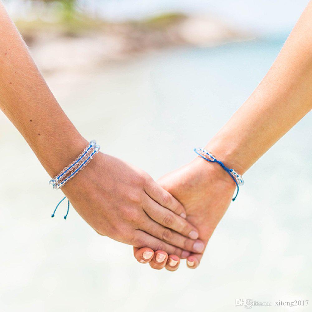 Pulsera de cuentas de piedra natural del océano para mujeres hombres pulsera de cuerda hecha a mano de Boho joyería de playa Femme nueva moda