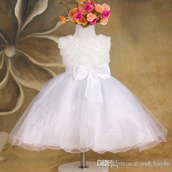 Gül Çiçek Çiçek Kız Elbise Kolsuz Büyük Ilmek Gazlı Bez Çocuk Düğün Prenses Elbiseler Stokta 3 Renk Çocuklar Pageant Elbise WD472