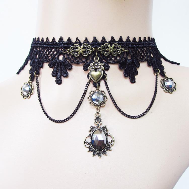 10 adet karışık kolye takı gotik stil punk moda vintage lace up choker kolye kolye olay parti için balo kadın lolita collar35