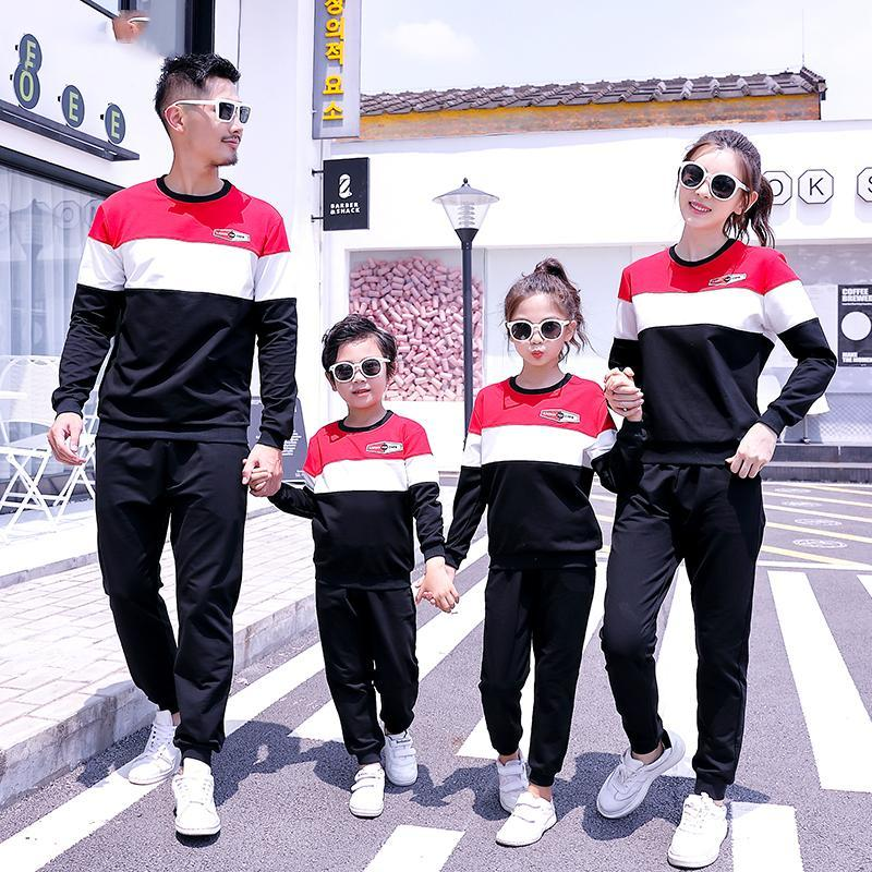 Mom Dad Daughter Son Sports Clothing Sets Mother Father Kids Boy Girls Jumper + Pants Suits 2020 Kids Tracksuit Family Match Outfits S637
