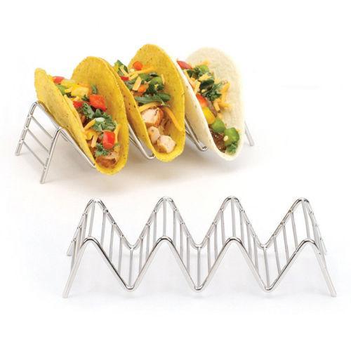 Wave-Form-Edelstahl-Taco-Halter Mexican Food-Rack 1-4 harte Schalen Hot
