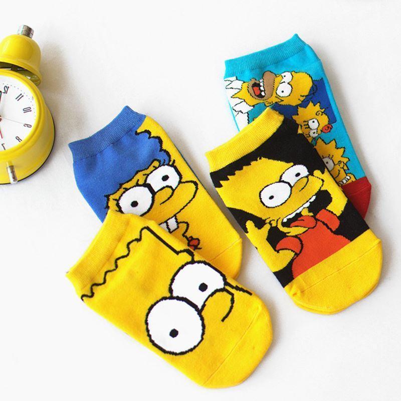 LIONZONE Kadınlar Pamuk Karikatür Sevimli Moda Komik Çorap Simpson Tekne Çorap Yenilik Görünmez Mutlu Çorap Sıcak Satış