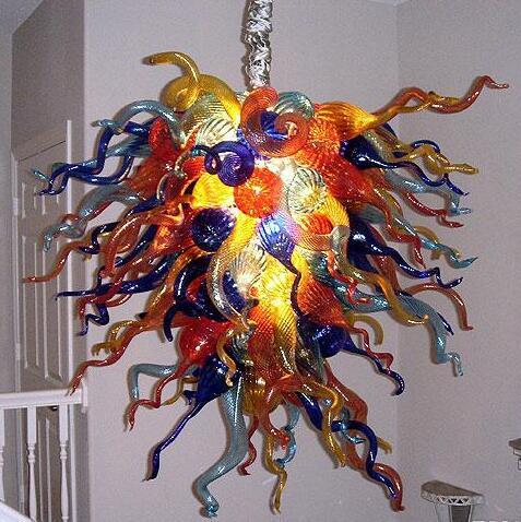 100% della catena di vetro soffiato a bocca lampadario di cristallo moderno artistico Lampade a sospensione per Villa decorazioni AC 110V 240V Soggiorno Illuminazione