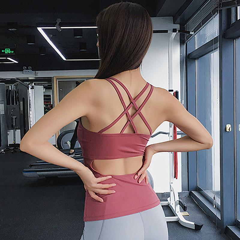 Femmes nouvelles chemises de yoga manches exercice Hauts Retour évider Respirant Fitness Sport T-shirts Gilet en cours de sport Hauts T200623