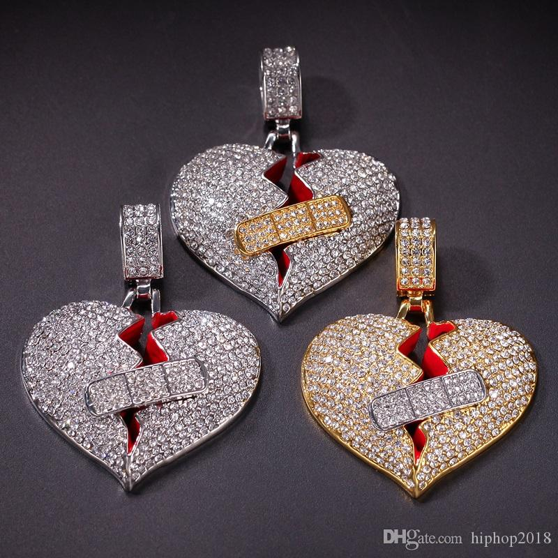 Nuevo Mens Hip Hop Collar colgante Iced Out Heart Pendant Necklace Moda Broken Heart Bandage Necklace Jewelry