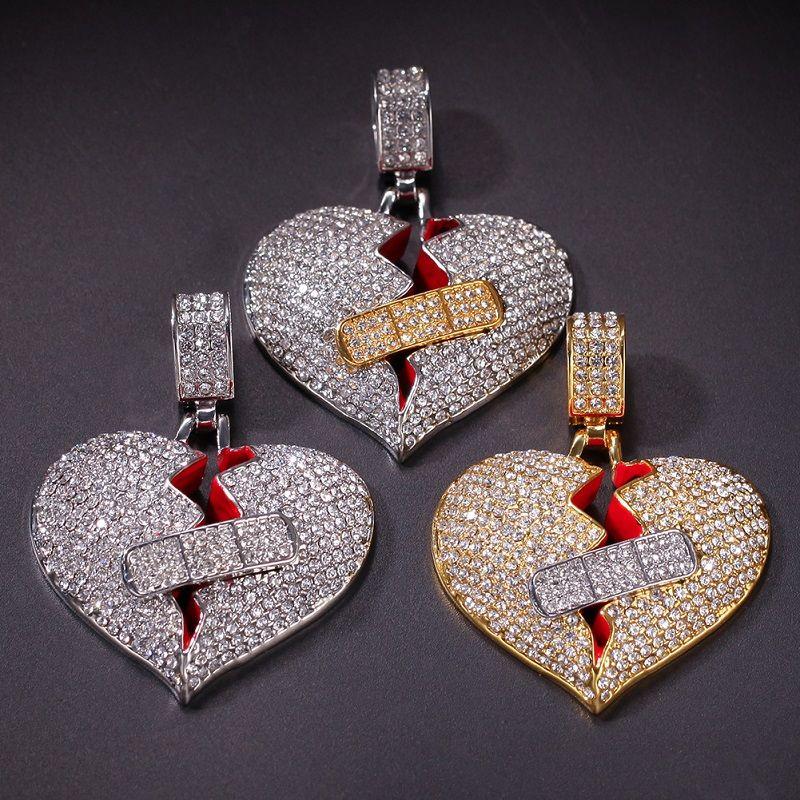 جديد رجل الهيب هوب قلادة قلادة مثلج خارج القلب قلادة قلادة الأزياء المكسور القلب ضمادة قلادة المجوهرات