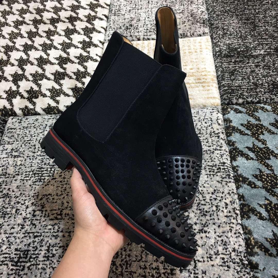 [Orijinal Kutusu] Patik Açık Partisi Wedding On Kırmızı Alt Bilek Boots For Men Dikenler Burun Yüksek Kaliteli 2018 Lüks Tasarımcı ayakkabı Kayma