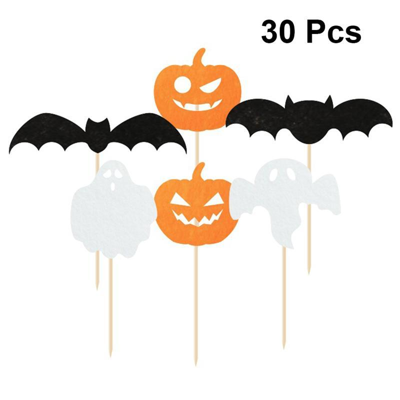16 Style Halloween Cake Toppers Castle Pumpkin Ghost Witch Spider Pick Paper Cupcake Decor Party Supplies For Halloween Party A3