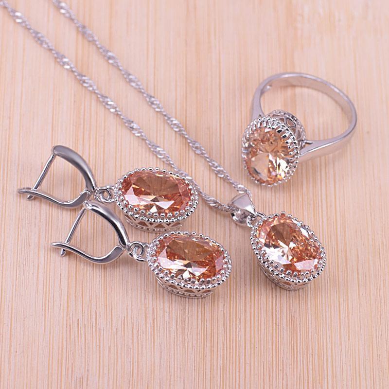 Genuíno 925 prata esterlina jóias oval brincos colar de pingente + Anéis Bonita Cubic Zirconia Mulheres nupcial para