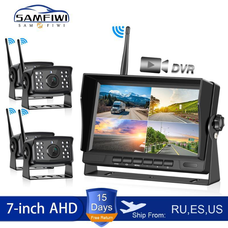 AHD Wireless DVR Car Monitor 7 inch Display Vehicle Auto Screen Rear View Truck Monitors Reverse Back up Recorder Wifi Camera