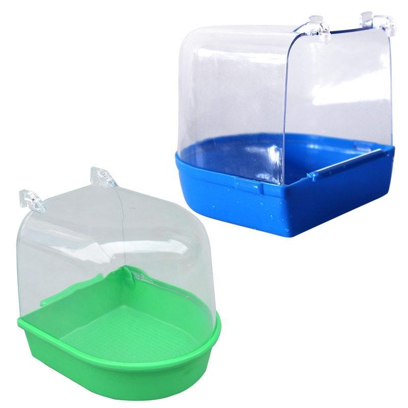 Acqua Vasca da bagno per l'animale domestico uccelli da voliera Hanging Accessori Ciotola Birdbath PVC PET Birds Cage Hanging accessori per la vasca da bagno Piccolo uccello altro uccello