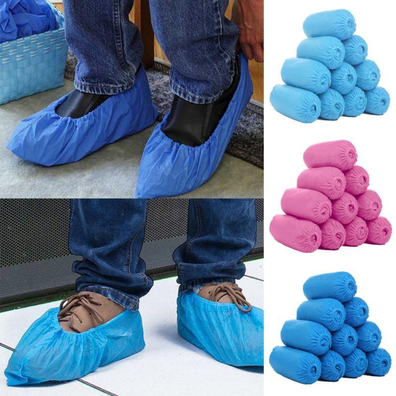 Shoe 200pcs monouso protettivo della copertura antipolvere antiscivolo di sicurezza Scarpe copertura del vestito la protezione del pavimento spessi pulizia Overshoes