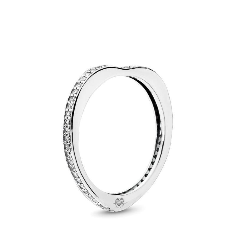 Fehmi% 100 925 Gümüş Aşk Yüzük Moda Basit Romantik Orijinal Kadın Takı 197095CZ-50 Köpüklü Yaylar