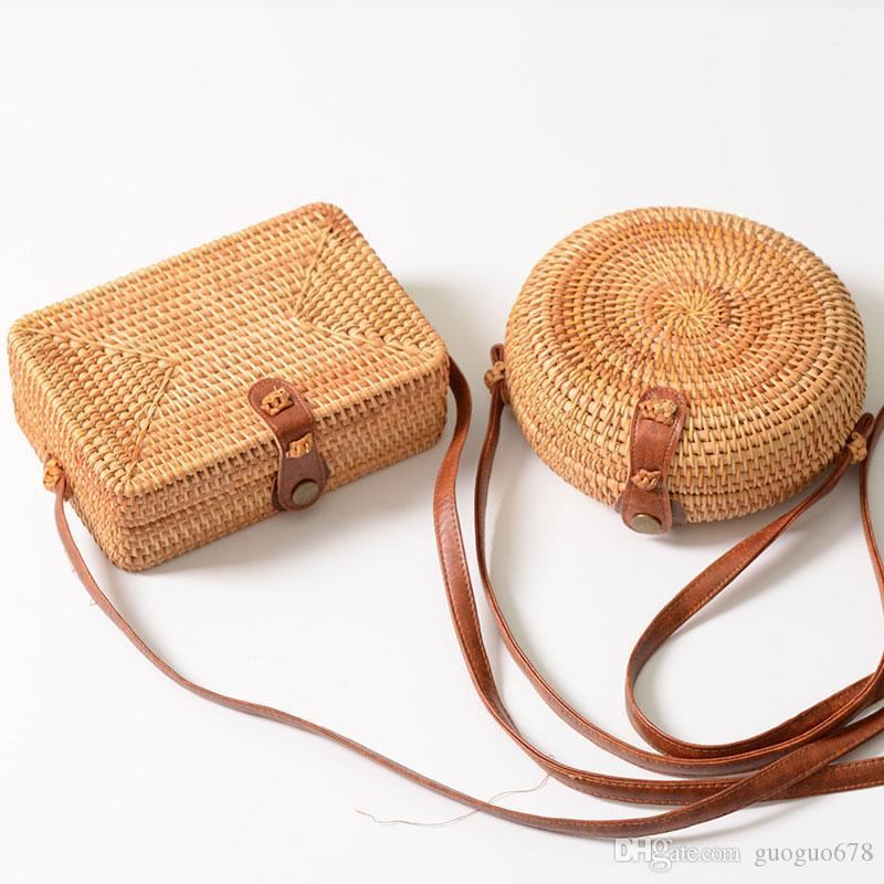 Trenzas de caña Inclinado bolso mini bandolera cruzada para restaurar las formas antiguas Arte Trenza de mano Bolsa de hebilla de cuero
