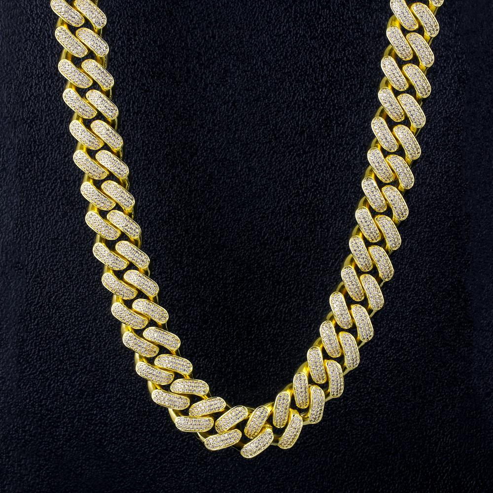 18mm Iced Out Cuban Chain Link Bracelet Choker Necklace Gold Fashion Hip Hop Cuban Link CZ 7/18/20/24 Inch Rapper Jewelry