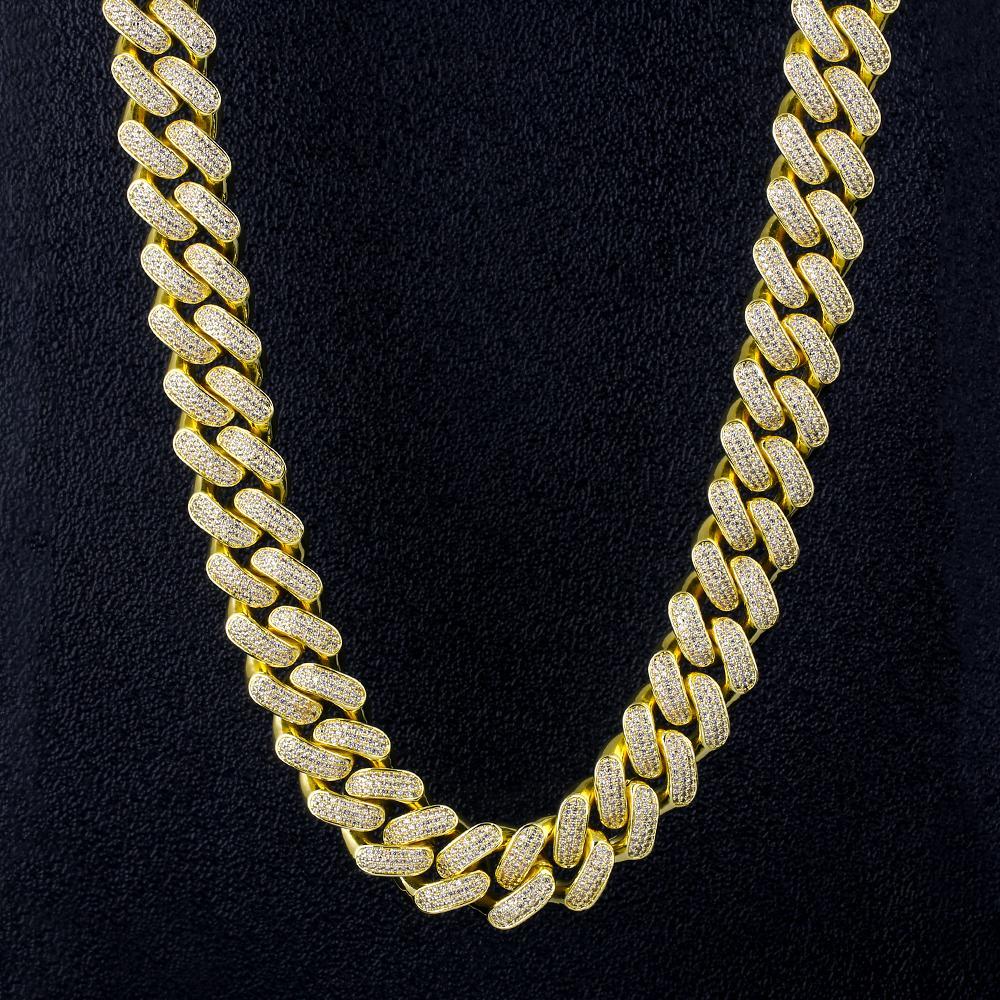 18 milímetros Iced Out Cadeia cubana Fazer a ligação Pulseira Gargantilha Colar de Ouro Moda Hip Hop cubano Fazer a ligação CZ 7/18/20/24 Inch Rapper Jóias