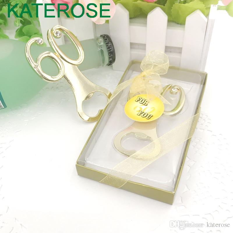 50PCS Gold 60th Bottle Openers No.60 Beer Opener Wedding Anniversary Souvenir Party Giveaways Gift FREE SHIPPING