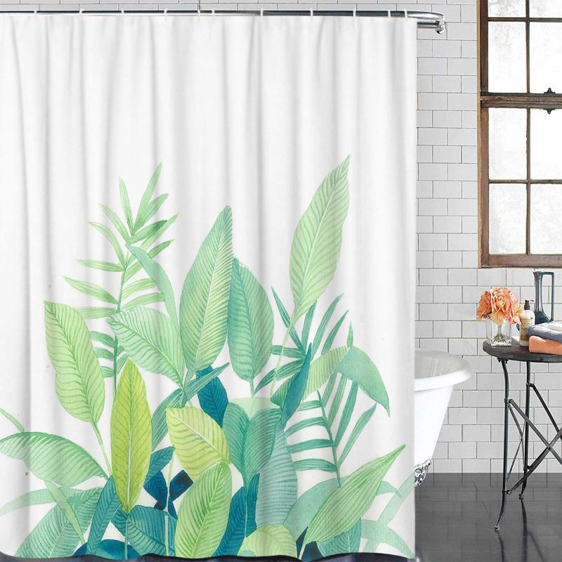 Eco-Friendly Shower Curtain Watercolor Green Leaves Printed Shower Curtain Bathroom Decor Waterproof Fabric Bath