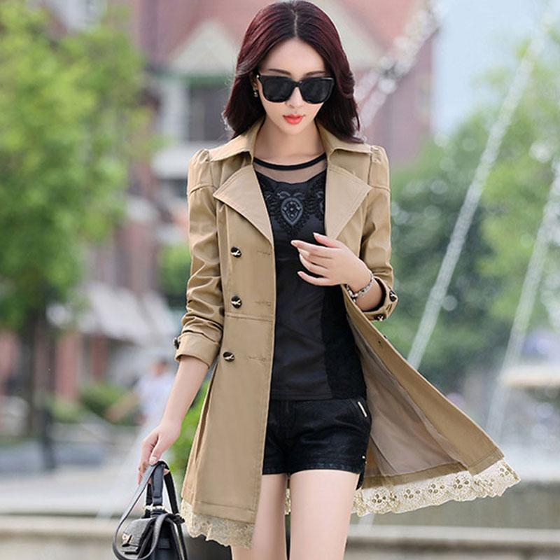 Trench Coat Women Double-Breasted Trenchcoat Lace Female Autumn Casual Coats Windbreaker Outwear Plus Size Raincoat Hot