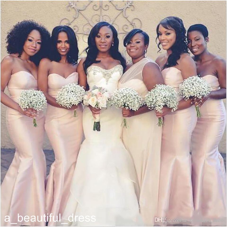Cetim simples Mermaid Vestidos dama de honra New Custom Made dama de honra vestidos de África do Sul de casamento formal Vestidos de Clientes