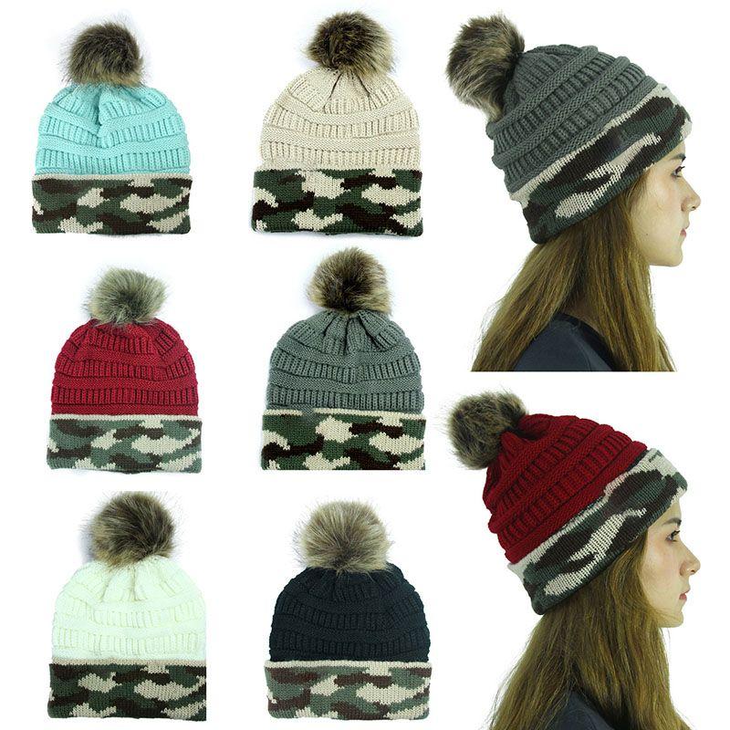 Mode Freizeit Zippelkapp Frauen Herbst-Winter-Tarnung Warme Wollmütze mit Kugel Festive, Geburtstag, Weihnachten Party-Hüte WX9-1756