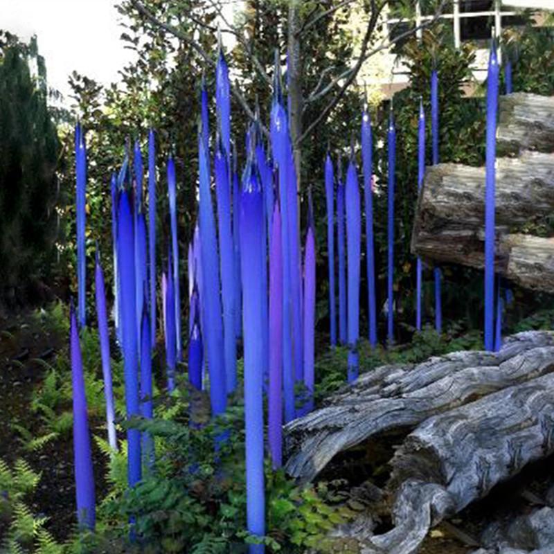 Modern Murano Cam Kamışlar Bahçe Sanatı Dekorasyon Mavi Cam Bahçe Heykel için% 100 Ağız Cam Bahçe Sculpture Üflemeli