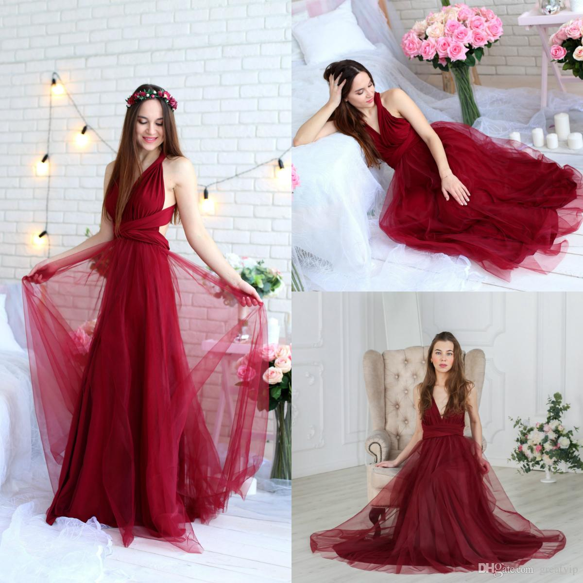 Burgundy A Line Bridesmaid Dresses Satin V Neck Tulle Overskirts Floor Length Formal Party Dress Plus Size Maid Of Honor Gowns